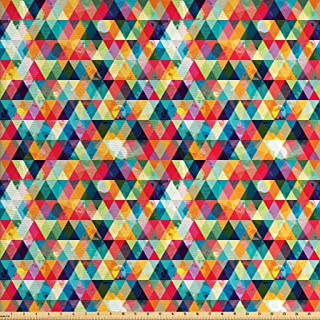 Lunarable Abstract Triangle Fabric by The Yard, Geometric Colorful Grunge Pattern Retro Motifs from Eighties and Nineties, Decorative Fabric for Upholstery and Home Accents, 2 Yards, Magenta Blue