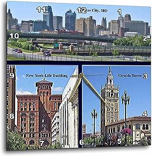 3dRose DPP_47344_1 Kansas City Skyline and Buildings Wall Clock, 10 by 10-Inch