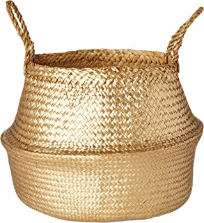 Bloomingville A82042462 Seagrass Basket, Small, Gold