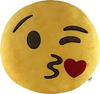 KINREX Emoji Pillow Toys For Kids And Adults - Blowing Kisses Yellow Pillow Cushion - Birthday Presents For Boys, Girls, And Adults - 35 cm