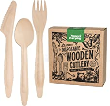 Large Full-Size Disposable Wooden Cutlery Sets | 180 Extra Strong Deluxe Pieces (60 Forks, 60 Spoons, 60 Knives) in Plasti...