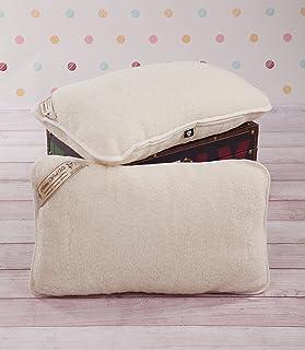 Paquete de 2 Almohadas de Cama de Lana Merino Tumbler Dos Almohadas 40 x 70 cm, Color Blanco Pura Lana