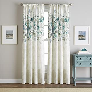 CHF Watercolor Floral Flip Over Rod Pocket Curtain Panel (Aqua, 63-inch)