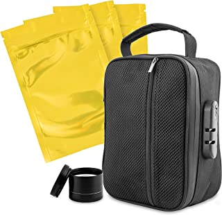 Compact Smell Proof Bag with Combination Lock. Canine Tested Odor Proof Technology, Comes with 5 Resealable Mylar Bags and a Grinder. Light Weight, Durable, Compact, Reliable, and Contains All Odors