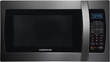 Farberware Black FMO13AHTBSE 1.3 Cu. Ft. 1100-Watt Microwave Oven with Smart Sensor Cooking, ECO Mode and Blue LED Lighting Black Stainless Steel