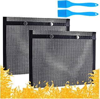 Luticessy BBQ Mesh Grill Bags, 14.5 x 9.8 Inch High Temperature Resistant Barbecue Bag, 2 Pack Non Stick Reusable Grill To...