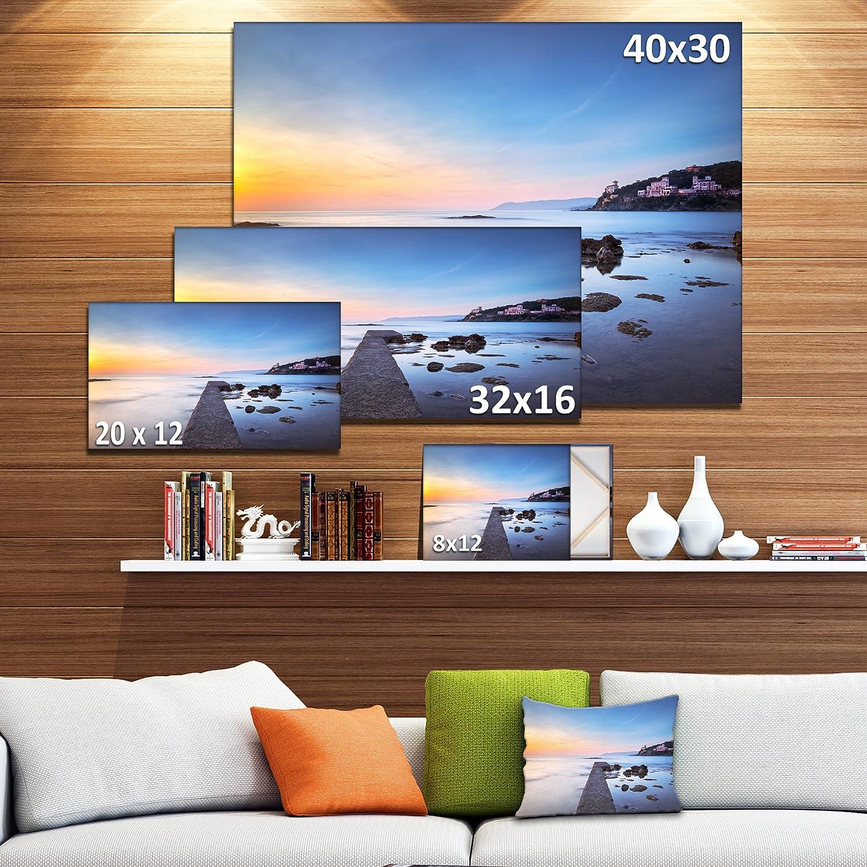 Amazon Com Designart Castiglioncello Bay Concrete Pier Seascape Photo Canvas Art Print 36x28in Multipanel 3 Piece 36x28 3 Panels Yellow Posters Prints