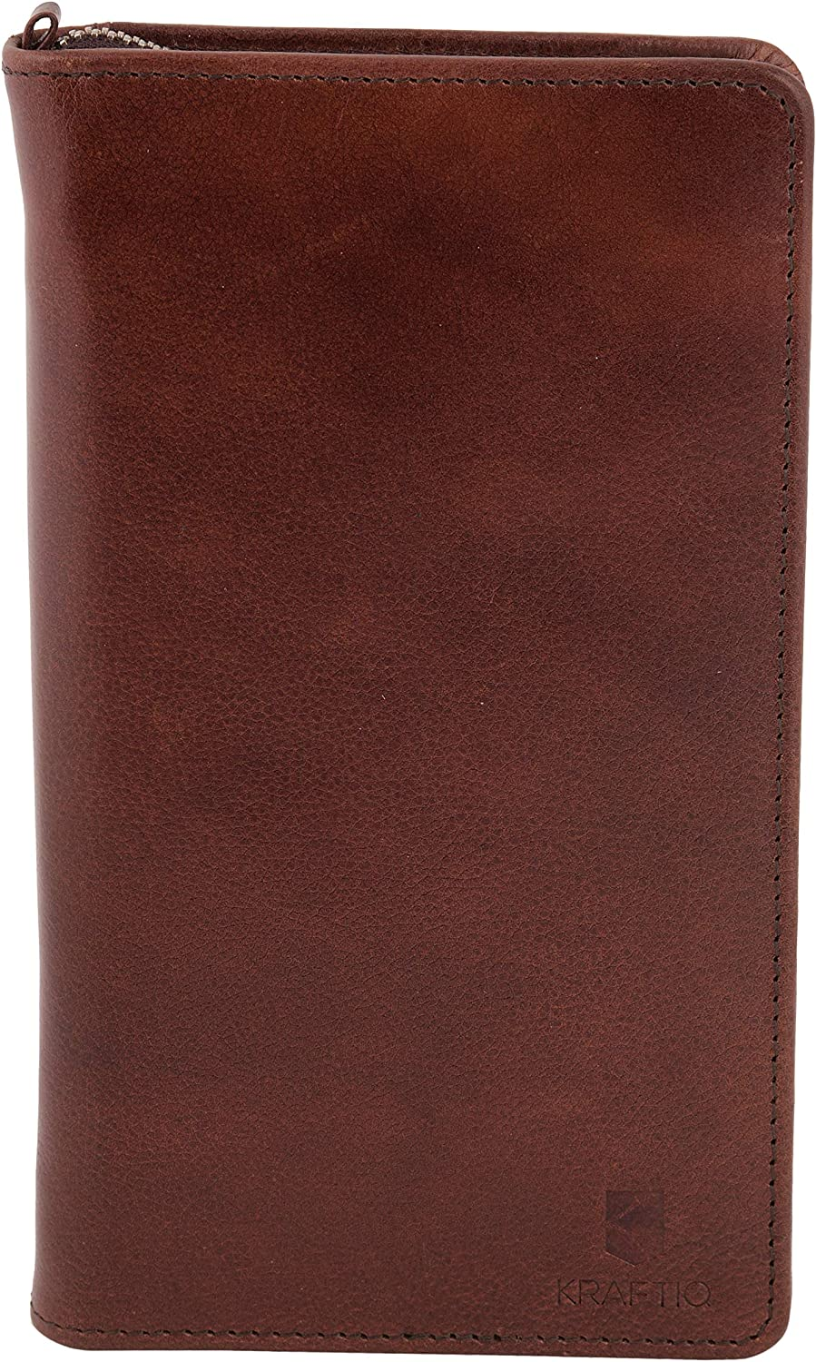 SIMON- RFID Secured, Vegetable Tanned Brown Genuine Leather Travel Wallet
