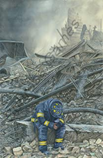 Subrosa.Games September 11 - Even Heroes Cry - First Responders Ground Zero Memorial Giclee Print (Reproduction of Original Painting) on Premium Paper 13x19 inches