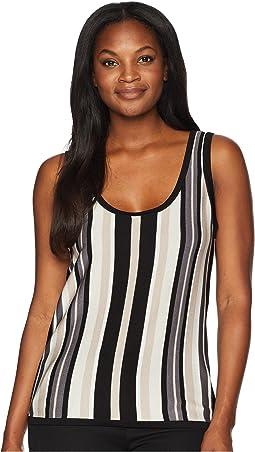 Vertical Stripe Scoop Neck Tank Top - Stripe Knit