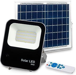 POPP® Nuevo Foco Exterior Solar,lluminacion LED jardin, 6000K IP65 Impermeable,Lampara Solar para Jardin,Garaje,Acera, Escalera,Patios,Terrazas (60 Watios)