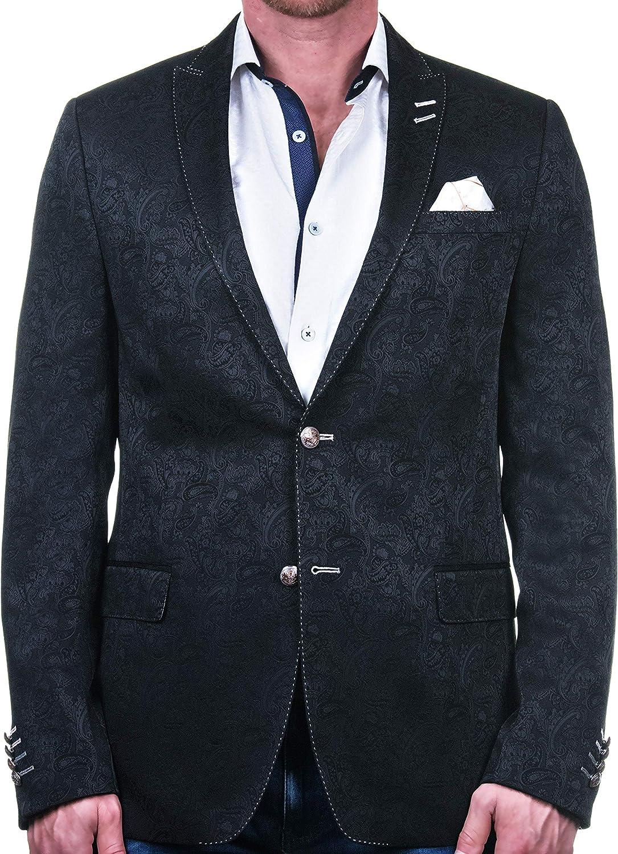 Maceoo Mens Designer Blazer - Night Out Stylish Sportswear - Blazer Descartes SupremePaisleyBlack Black - Tailored Fit
