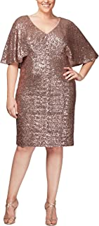Alex Evenings Women's Plus Size Short Sequin Dress