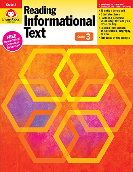 Evan Moor Reading Informational Text Common Core Mastery Book Grade 3