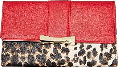 Betsey Johnson Flap Wallet Leopard/Red One Size