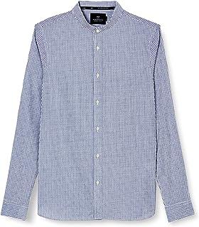 Scotch & Soda Regular Fit-Chic Collarless Dobby Shirt Camisa para Hombre
