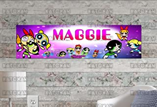 KATONAH Customized Name Painting Powerpuff Girls Poster with Your Name On It Personalized Banner