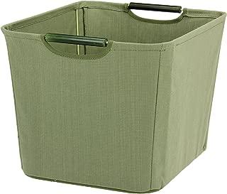 Household Essentials Open Tapered Bin with Wood Handles, Medium, Green