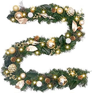 Valery Madelyn Pre-Lit 9 Feet/106 Inch Elegant Champagne Gold Christmas Garland with Shatterproof Ball Ornaments, Ribbon, Pine Cones and Artificial Flowers, Battery Operated 40 LED Lights