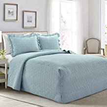 Lush Decor French Country Geo Ruffle Bedding, 3-Piece Bedspread Set (Queen, Blue)