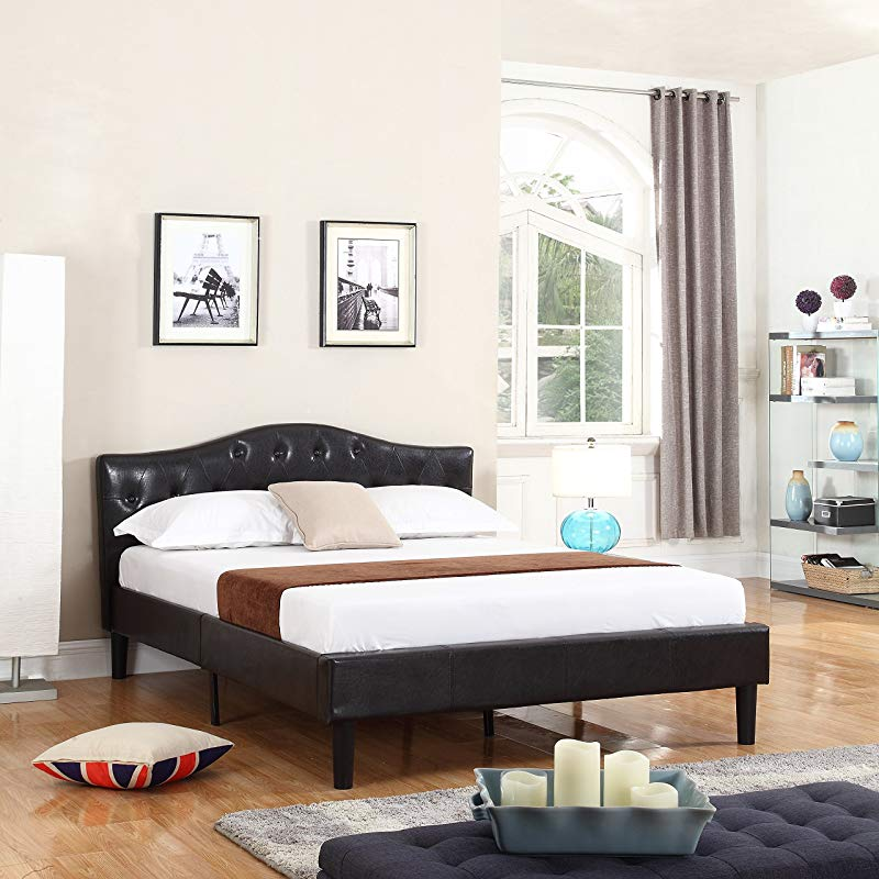 Divano Roma Furniture Classic Deluxe Bonded Leather Low Profile Platform Bed Frame With Curved Headboard Design And Button Details Fits Full Mattresses Espresso Brown