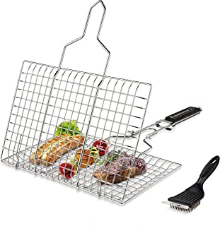 Fiamma Foldable Grill Basket – Grilling Basket for Fish, Meat, Kebab, Vegetables, Hamburger & shrimp. Barbe...