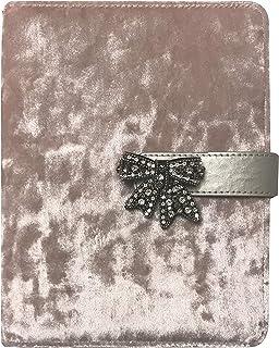 "Journal (Notebook Bookmarks Women) Snap-Close ; Blush Pink Luxurious Velvet- 8.25""X6"" Inner Block App .7"" White (College R..."