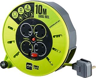 Masterplug CMU10134SL-PX Cassette Reel, 13A Fused, 4 Socket 10m Cable Length, Green Grey