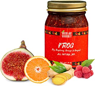 Green Jay Gourmet FROG Jam - All-Natural Raspberry Jam with Figs, Red Raspberries, Orange Juice & Ginger - Vegan, Gluten-free Fruit Jam - Contains No Preservatives - Made in USA - 20 Ounces