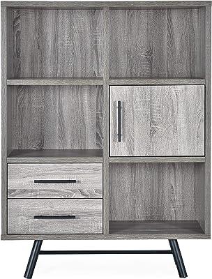 Christopher Knight Home Sylvia Modern Industrial 6 Shelf Multi-Functional Cabinet, Brown Oak + Black