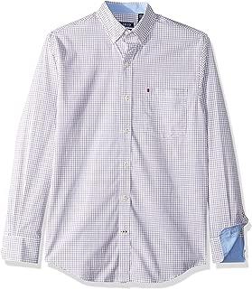 Men's Button Down Long Sleeve Stretch Performance Tattersal Shirt