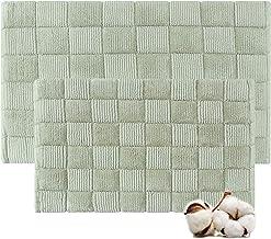 Cotton Bath Rugs Water Absorbent Check Design Bathmat Set of 2 (Size 21x34/17x24 Color Sage)