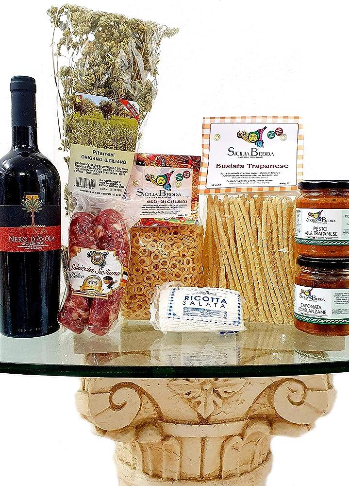 Sicilia bedda,idea regalo prodotti tipici siciliani, con vino nero d`avola, origano, pasta siciliana, salumi