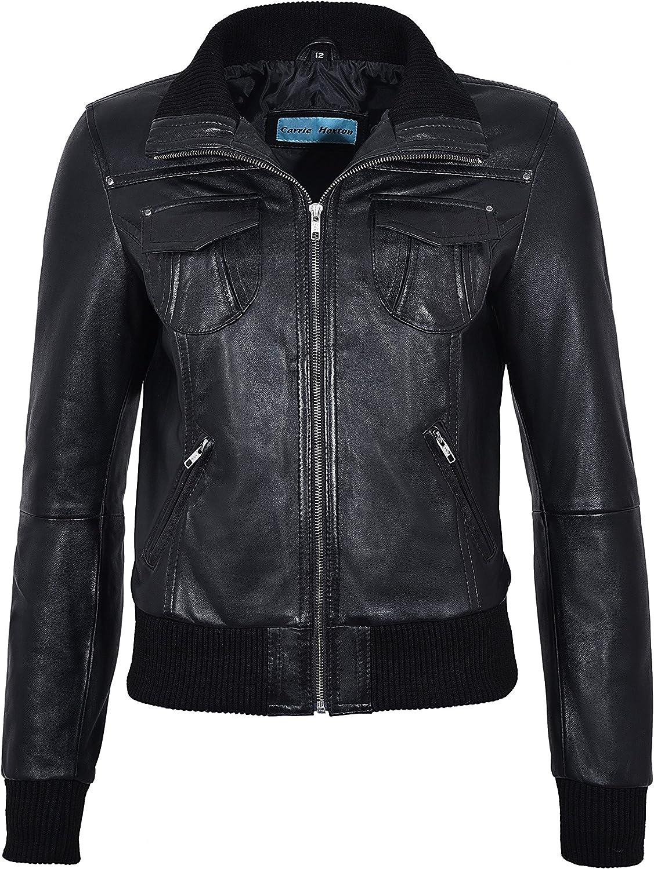 FUSION Ladies BLACK WASHED Short Bomber Biker Motorcycle Style Leather Jacket
