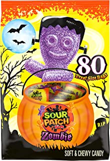 SOUR PATCH KIDS Zombie Halloween Candy, Trick or Treat Size, 80 Packs, 41.6 Ounce