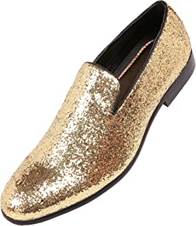 0595a27e8 Amali Mens Metallic Sparkling Glitter Tuxedo Slip On Smoking Slipper Dress  Shoe