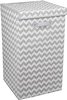 Home Basics Chevron Laundry Hamper with Handle, Grey
