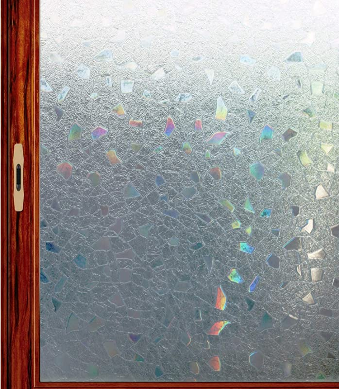 Fofon 3D Privacy Static Window Film Non Adhesive Decorative Glass Clings For Home And Office 17 71 By 78 74 Inches