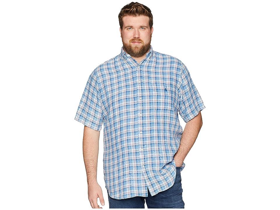 Polo Ralph Lauren Big Tall Linen Short Sleeve Sport Shirt (Sky Blue/White Multi) Men