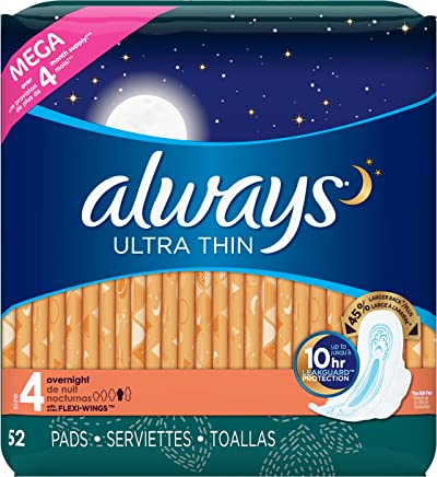 Always Ultra Thin Feminine Pads for Women, Size 4, Overnight Absorbency, Unscented,