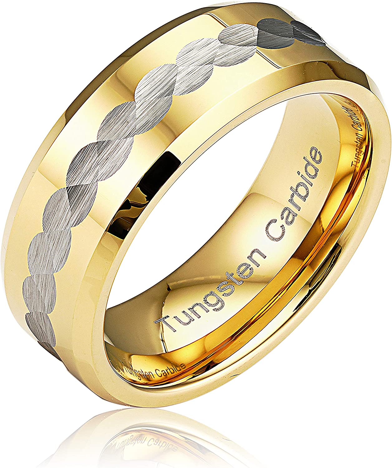 Los Angeles Mall 100S JEWELRY Engraved Personalized Infinity Max 62% OFF Tungsten Gold Rings