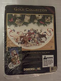 Santa's Wildlife Tree Skirt - Christmas - The Gold Collection Counted Cross Stitch Kit by Dimensions