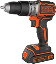 BLACK+DECKER BL188KB-QW - Taladro Percutor Motor Brushless con 2 velocidades 18 V, Incluye 2 Baterías de Litio 1.5 Ah, Cargador y Maletín
