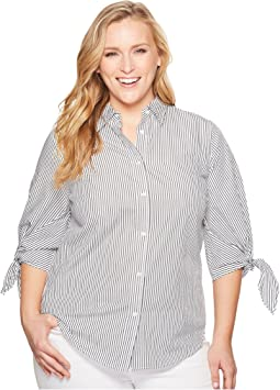 Plus Size Striped Tie-Sleeve Cotton Shirt
