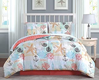 Avondale Manor Belize 8-Piece Comforter Set, King, Coral