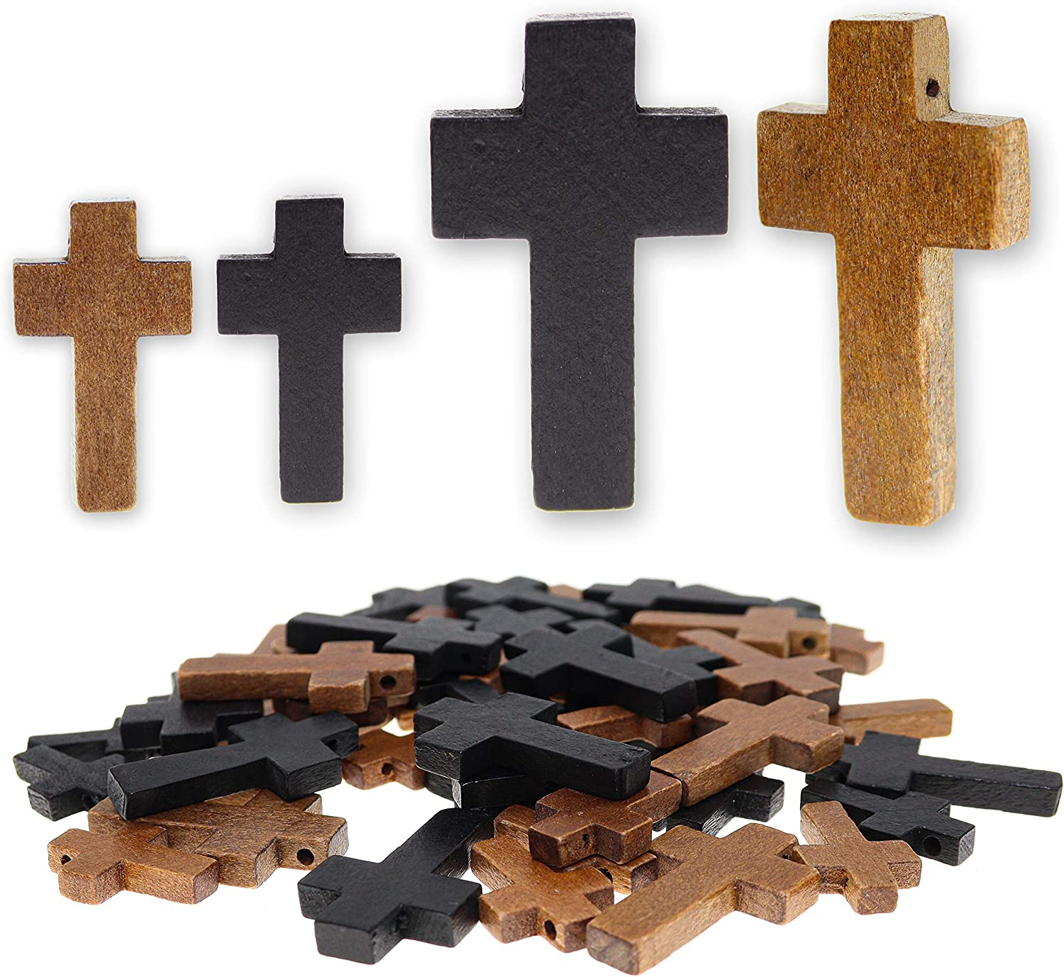 Fun-Weevz 40 PCS Random safety Assorted Cross Seattle Mall Jewelry for Pendants Wood