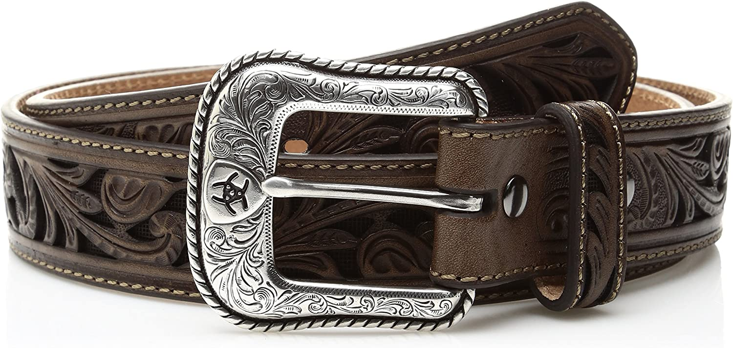 Ariat Men's Scroll Cut Out Brown Inlay Western Belt