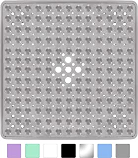 Yimobra Square Shower Mat for Bathtub, 21 x 21 Inches, Non-Slip with Drain Holes, Suction Cups, BPA, Latex, Phthalate Free, Machine Washable Bath Tub Mats, Clear Gray
