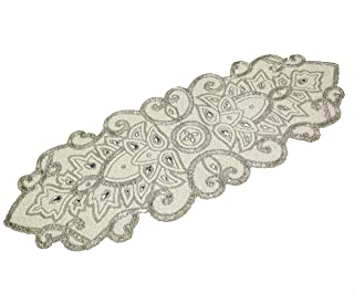 COTTON CRAFT - Beaded Table Runner - Medallion - Ivory Silver - 13x36 Inches - Hand Made by Skilled Artisans - A Beautiful Complement to Your Dinner Table Décor - Spot Clean Only