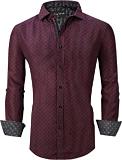 Mens Dress Shirts Easy Care Regular Fit Long Sleeve Printed Casual Button Down Shirts